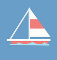 sailboat with blue wave and isolated background vector image