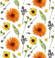 seamless floral pattern element of orange yellow vector image