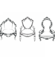 Elegant armchair set with ornaments vector image