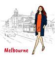 woman in melbourne australia vector image