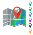 Flat map icon and map markers vector image