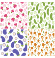 Mixed vegetables seamless patterns set 1 vector image