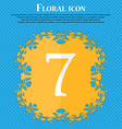 number seven icon sign Floral flat design on a vector image