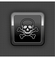skull chrome button vector image vector image