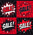 black friday sale set comic style template vector image