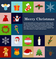 christmas icons flat style winter decoration vector image
