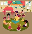 kindergarten kids listen to teacher reading a book vector image