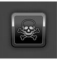skull chrome button vector image