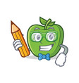 student with pencil green apple character cartoon vector image
