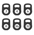 Weights Icons with Numpers Set vector image