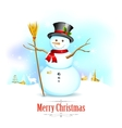 Snowman with broom in Christmas Background vector image vector image