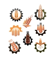 Set of icons depicting industry and agriculture vector image vector image