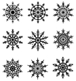 Black Flat Lacy Snowflakes Icons Isolated on White vector image
