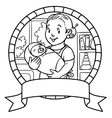 Funny mother or nanny with baby Emblem vector image