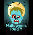 halloween party banner with zombie vector image