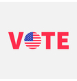 Vote red text Blue badge button icon with American vector image