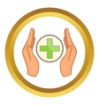 Hands holding cross icon vector image