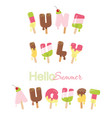 june july august hello summer ice cream melted vector image