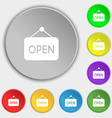 open icon sign Symbol on eight flat buttons vector image