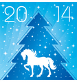Background with horse silhouette Christmas tre vector image