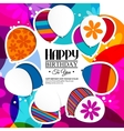 Birthday card with balloons in the style of vector image