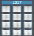 Calendar 2017 week starts on Sunday blue tone vector image