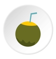 Coconut cocktail icon flat style vector image