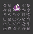 Different cargo icons collection web and mobile vector image