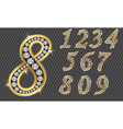 Number set from 1 to 9 golden with diamonds vector image