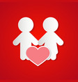 Paper Couple with Heart on Red Background vector image