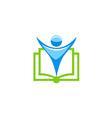 people open book education school logo vector image
