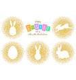 set of easter silhouettes gold vector image