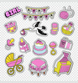 baby shower decoration set with girl toys vector image