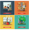 set of mail delivery posters in flat style vector image