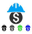 dollar safety helmet flat icon vector image