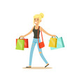 happy blonde woman in a casual clothes walking vector image vector image