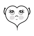 line kawaii cute thinking heart design vector image