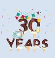 30th year birthday celebration card vector image