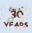 30th year birthday celebration card vector image