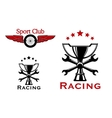 Racing and motorsport symbols or icons vector image vector image