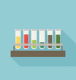 five multicolor test tubes with green blue orange vector image