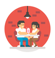 Flat design couple sharing milkshake vector image