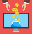 Flat design of online banking Human hands a vector image