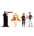 People dresses in death monster angel and cat vector image