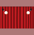 red curtain background with spotlights luxury red vector image