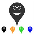 spectacles smiley map marker icon vector image