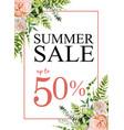 summer sale banner background with pink garden vector image