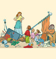 terrible mother and the kids made a mess at home vector image