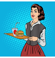 Waitress with Fast Food Woman with Burger vector image