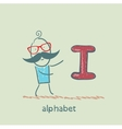 man standing with a letter of the alphabet vector image vector image